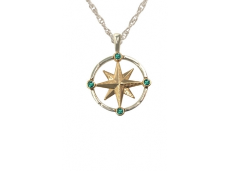 Med Compass w/Emeralds - Sterling Silver and 14ky medium compass rose with 4 emeralds, one at each cardinal direction. Chain additional.