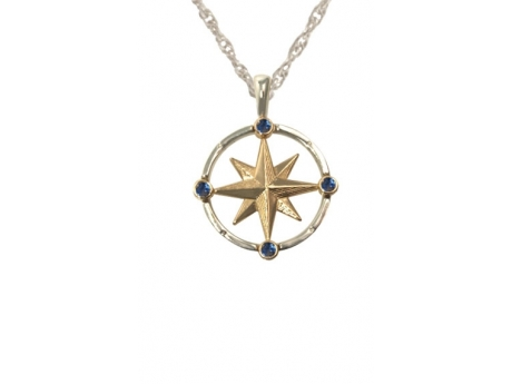 Medium Compass with Sapphires - Sterling Silver and 14ky medium compass rose with 4 sapphires.  Chain additional.