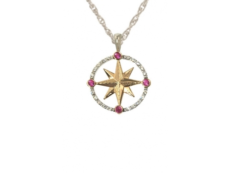 14ktt Med Compass w/Dias and Rubies - 14k white and yellow gold medium compass rose pendant with diamonds and rubies.  Chain additional.