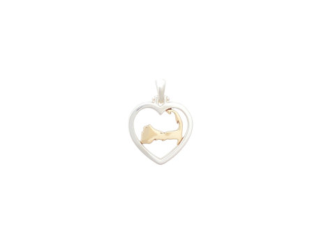 Sterling Silver and 14k gold Cape Heart Pendant, designed in house, made in Massachusetts and exclusively available at Stephen Gallant Jewelers.
