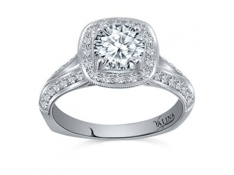Valina Split-band Cushion Halo - 14kw split band ring with cushion shaped halo and 1ct round diamond center.    For more Valina styles visit www.ValinaBridals.com