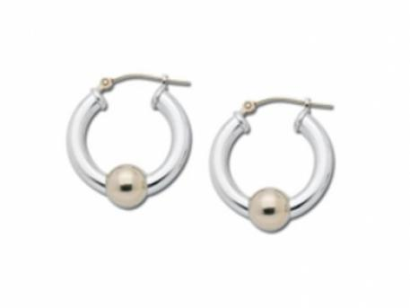 Classic Cape Cod Hoop Earrings - Sterling Silver & 14k Gold Hoop Earrings, approx 3/4in diameter.Made in Massachusetts.