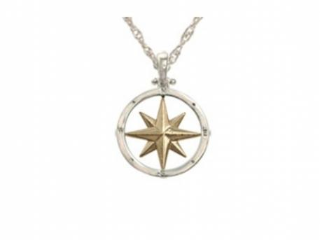 Medium Compass Rose pendant - Medium SS/14k Compass Rose Pendant. Measures just over 1/2in across.  Chain sold separately.  Pendant available in all gold & all silver as well.For a thousand years travelers have relied on a compass in hand and as an icon beautifully drawn on their maps, to guide them to their destination.  Wear this Compass Rose as a talisman to remind you that we are not just travelers but the navigators of our destiny.Made here in Massachusetts.