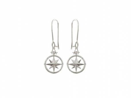 "SS Compass Rose Drop Earrings - SS Compass Rose Shackle Drop Earrings.  Compass Rose measures less than 1/2in across and earrings drop a total of 1.5"" long. Also available in 14k gold."