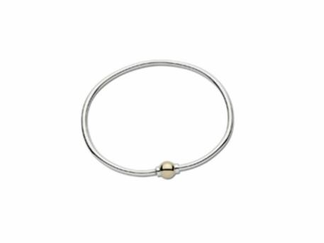 SS/14k Classic Cape Cod Ball B... - SS/14k gold Cape Cod Single Ball Bracelet. This is REAL silver and REAL gold.  It is not lightweight nor gold plated.  Made in Massachusetts