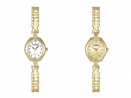 Ladies Gold-Tone Expansion - Ladies Gold tone dress watch with adjustable expansion band.  Available with numbers or sticks for markers.  Sapphire Crystal.