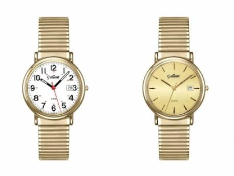 Gents EZ Read Expansion Watch - Gents EZ Read gold tone expansion watch with date, sapphire crystal.  Available in a white face with numerals and a red second hand or champagne face with gold markers.