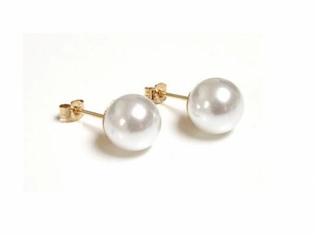 Saltwater Cultured Pearl Earrings - 6.5mm Saltwater Cultured Pearl Stud earrings with 14k gold posts.  Other sizes available (4-7.5mm)
