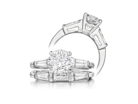 Engagement ring with Tapered Baguettes - 14k white gold with 1.21ct Ideal Cut Diamond Center stone with 1/3ct total weight diamond baguette sides. Band sold separately. SOLD - Style may be duplicated, other center stone sizes available.