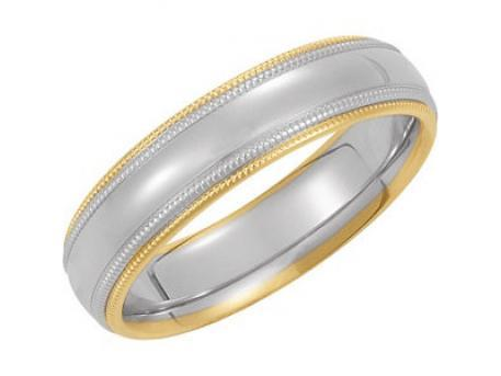 Two-Tone Double Milgrain - 14k white & yellow gold band for men or women.  Priced according to finger size.