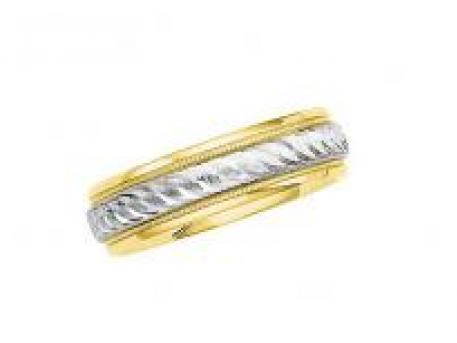 Two-Tone Designer Band - 14k white & yellow gold wedding band for men or women.  Priced based on finger size.
