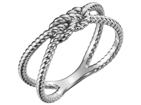 Silver Square Knot Ring - Sterling Silver Nautical Rope Ring.  Available in sizes 6, 6.5, 7, 7.5, 8.