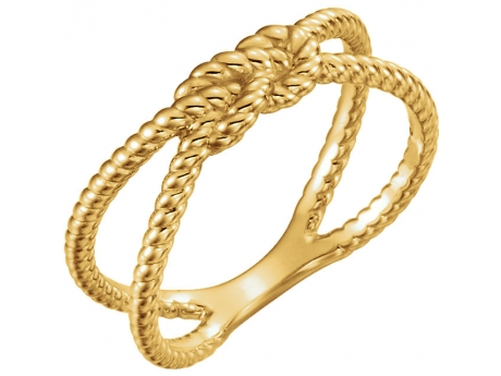 Square Knot Ring - 14k gold nautical rope ring.  Available in White, Rose or Yellow Gold. Available in sizes 6, 6.5, 7, 7.5, 8.