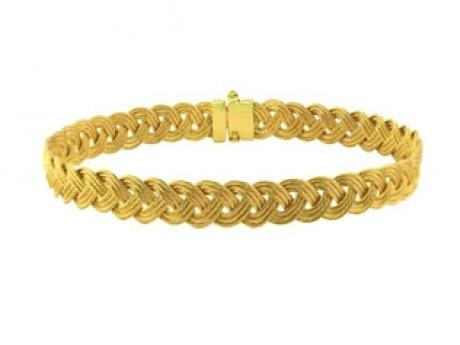 14k spun gold braided cable bracelet. 7mm wide and 7in long, available in other widths and wrist sizes. Made in the USA!