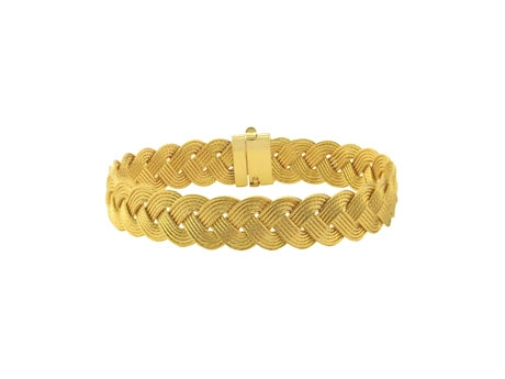 Gold Braided Cable Bracelet - 14ky 9mm spun gold braided cable bracelet, 7in