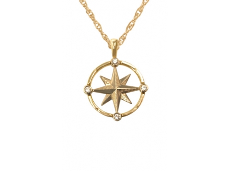 Gold and Diamond Compass Rose - 14k gold medium compass rose pendant with 4 diamonds.  Measures approximately 5/8in across.  Chain sold separately.