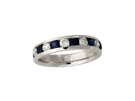 Sapphire and Diamond Anniversa... - 14k white gold 11-stone sapphire and diamond channel set ring.