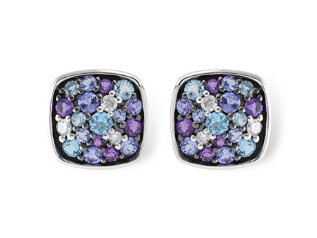 Hydrangea Earrings - 14k white gold earrings with Tanzanite, Amethyst, BlueTopaz and Diamonds.