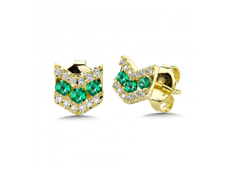 Emerald Chevron Earring - 14k yellow gold emerald and diamond chevron studs