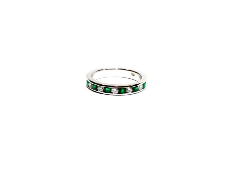 Emerald and Diamond Anniversary Band - 14k white gold 11-stone emerald and diamond channel set ring.