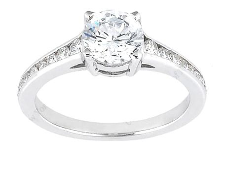 1ct w/Tapered Channel Sides - 14kw 1ct center with 1/4cttw tapered channel set diamonds. SOLD.  Matching wedding band also available (OVN 50455 0.16cttw channel set curved band)