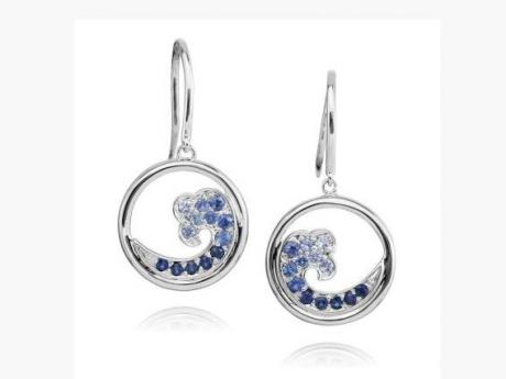 Sapphire Wave Earrings - Sterling Silver Sapphire Wave Earrings.