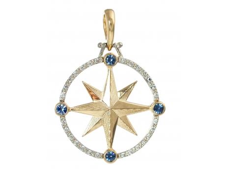 Large Compass Rose with Gems - 14k gold large compass rose with diamonds and sapphires.  Measures approximately 1 inch across.
