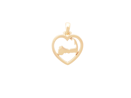 14k gold Cape Heart Pendant, Our Exclusive Design, a portion of the proceeds from the sale of each Cape Heart will go to a different local charity each month.