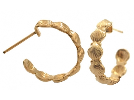 Gold Scallop Hoops - 14k yellow gold scallop hoop earrings.  Also available in Sterling Silver, $68.