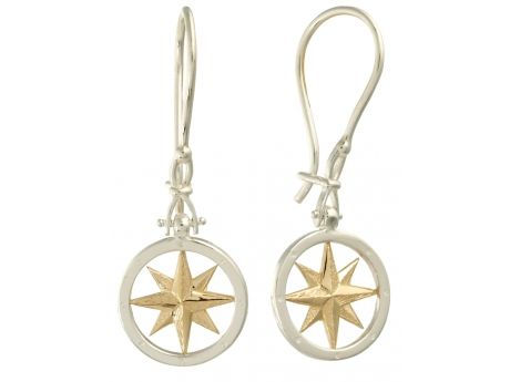 Compass rose drop earrings - Sterling Silver and 14k gold Compass rose drop earrings.  Also available in Studs.