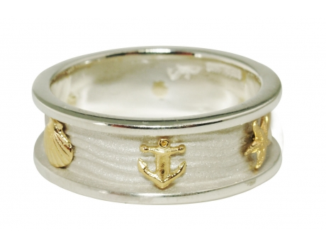 Nautical Ring - Sterling Silver ring with 14k gold anchors, scallops and starfish.