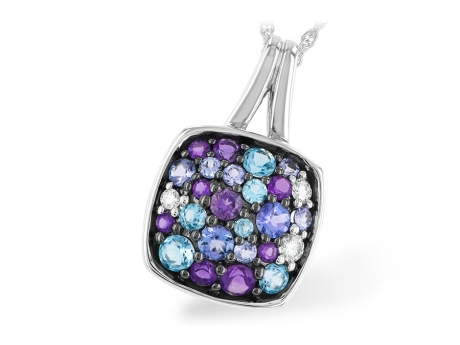 Hydrangea Pendant - 14k white gold Tanzanite, Amethyst, Blue Topaz, and Diamond pendant (chain sold separately).