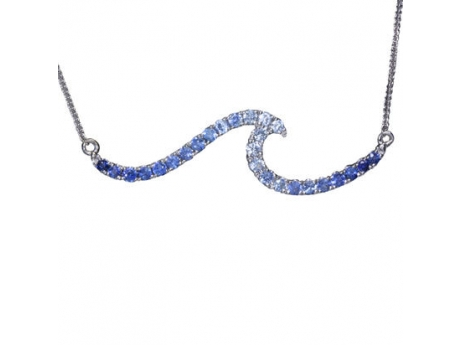 Sterling Silver and genuine blue sapphire wave line necklace, chain attached, 18in.