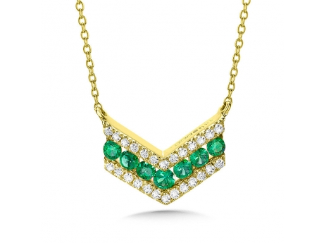 Emerald Chevron Necklace - 14k yellow gold emerald and diamond chevron necklace 16-18in adjustable chain included.