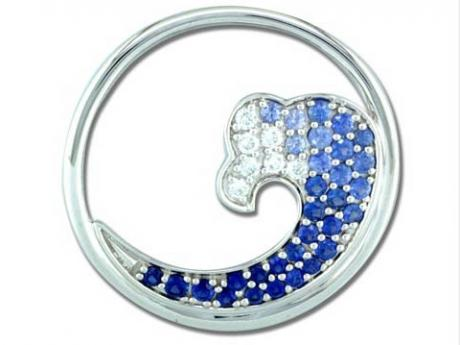 Large Sapphire Wave Pendant - Sterling Silver Large Sapphire Wave Pendant, measures 30mm across.