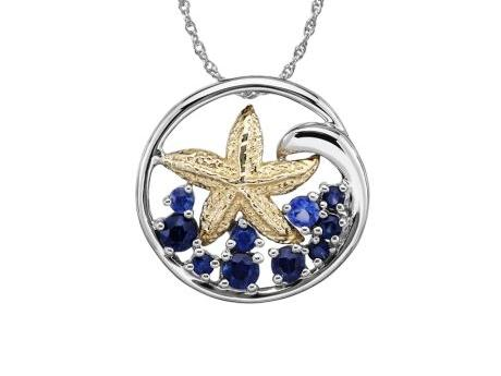 Starfish and Sapphire Pendant - Sterling Silver Pendant with 14ky gold Starfish and 3/4ct in blue sapphires.  Chain sold separately.  Pendant measures approx 3/4in across.