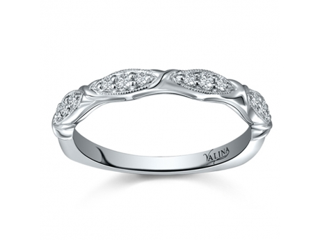 Patterned Wedding Band - 14kw 0.13ct total weight diamond band.