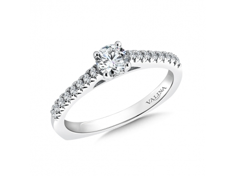 14k petite single row Valina ring - 14kw petite single row diamond ring.  Center is a 0.32ct round brilliant diamond, set in 6 prongs (photo shows 4), with 0.20ct total in side diamonds. SOLD