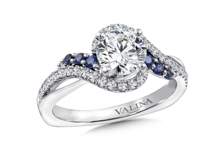 Valina Sapphire and Diamond Ring - 14kw 1ct diamond center with diamond and blue sapphire accents.