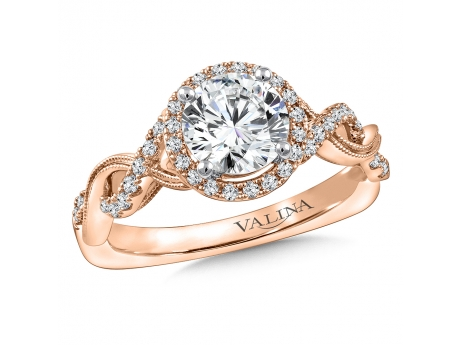 Rose Gold Halo Engagement - 14k Rose Gold Diamond Halo Engagment Ring