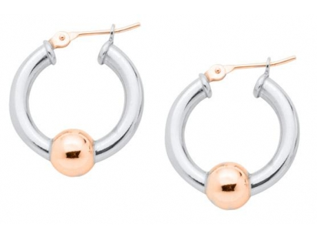 Sterling Silver and 14k ROSE gold Cape Cod Hoop Earrins.  Made in Massachusetts.