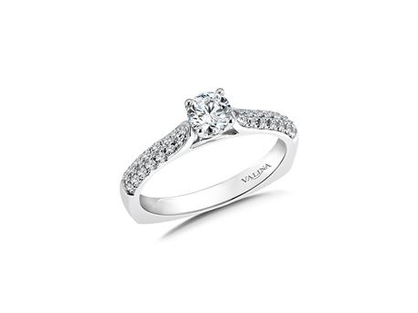Petite Pave Engagement - 14kw double row Valina ring with 6 prong set (4 prong shown in photo) center diamond.  Center weighs 0.29ct and the total on the side diamonds is 0.29cttw.