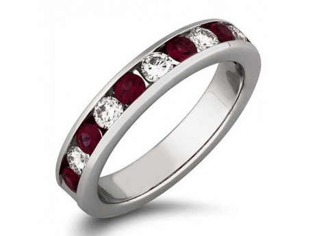 Ruby and Diamond Anniversary Band - 14k white gold 11-stone ruby and diamond channel set ring.