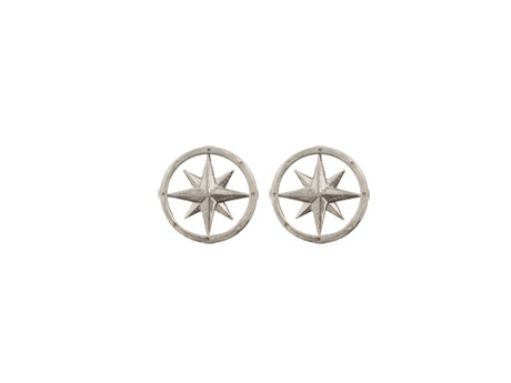 Compass Rose Stud Earrings - Sterling Silver Compass Rose Stud Earrings.  Also available with gold centers or all 14k gold.