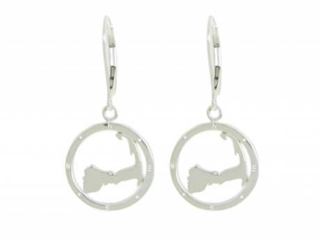 Cape Compass Silver Earrings - Sterling silver Cape Compass.  Each earring measures 5/8in across. Secure leverback hooks. Call to order 508-255-2944  Made in Massachusetts.