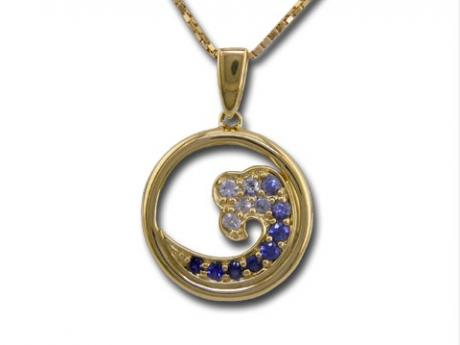Small Sapphire Wave Pendant - 14ky gold small sapphire wave pendant.  Measures 15mm across. Chain Sold separately.