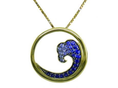14ky Sapphire Wave Pendant - 14ky 0.56cttw sapphire wave pendant, chain sold separately.