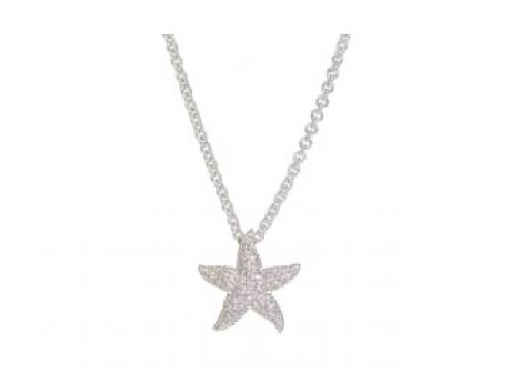 14k white gold and diamond pave starfish pendant.  (Chain sold separately).