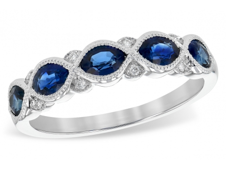 14kw Sapphire and Diamond Band