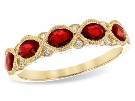 Ruby and Diamond Band - 14k yellow gold Ruby and Diamond Band